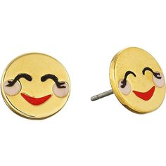 Kate Spade New York Tell All Blushing Emoji Studs Earrings Earring ($48) ❤ liked on Polyvore featuring jewelry, earrings, red, red jewelry, kate spade jewelry, earrings jewelry, post earrings and red stud earrings