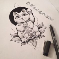 1000+ ideas about Lucky Cat Tattoo on Pinterest | Cat Tattoos ...