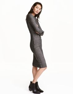 Check this out! Knee-length, long-sleeved dress in a rib knit with glittery threads. - Visit hm.com to see more.