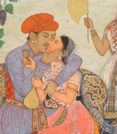 The grape-laden vine intertwined around the tree is a poetic visual metaphor for the lovers in close embrace beneath it. The attendant with a fan looks away as the lady on the man's lap receives a Mughal Miniature Paintings, Mughal Paintings, Lovers Embrace, Southeast Asian Arts, Visual Metaphor, V & A Museum, Art Of Love, Cleveland Museum Of Art, India Art