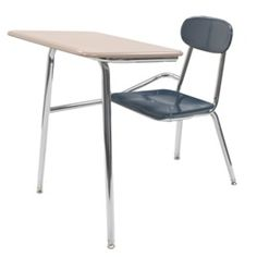 Scholar Craft CDF SC5000 Chair Desk - These popular chair desks feature a 5/8-inch solid Melamine Resin hard plastic seat that resists chipping, scratching and fading, providing a stylish and durable classroom seating solution.  Chair desk tops are available with a Melsur 5/8-inch Melamine Resin solid plastic surface that's flat and non-angled and include an exclusive Ergo Edge and oversized pencil groove. Also available with a bookrack (SC5100) and tablet arm (SC5300). [SC5000]