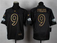 Nike Philadelphia Eagles #9 Nick Foles 2014 All Black/Gold Elite Jersey