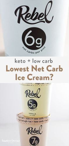 Is Rebel Creamery the best store bought keto ice cream? I review flavors from best to worst, where to find them and how many net carbs for a entire pint! Low Fat Ice Cream, Almond Ice Cream, Peanut Butter Ice Cream, Mint Ice Cream, Keto Ice Cream, Peanut Butter Fudge, Homemade Ice Cream, Vanilla Ice Cream, Keto Milkshake