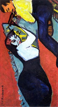 Painting by Ernst Ludwig Kirchner, 1908 on canvas Liegende (Lying), oil on canvas. Ernst Ludwig Kirchner, Neo Expressionism, Expressionist Artists, Davos, Karl Schmidt Rottluff, Emil Nolde, Paint Photography, Amedeo Modigliani, Paintings I Love