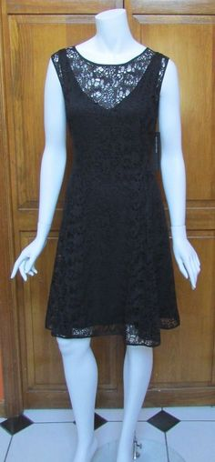 Andrew Marc New York Black Knit Knee Length Sleeveless Dress Sz 12 NWT  #AndrewMarc #Sheath #Cocktail