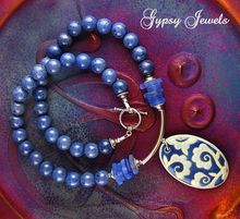 Blue Bayou Necklace with Sea Glass, Stones and Sterling