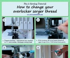 Tutorial: How to change your overlocker serger thread - Sew outnumbered Singer Overlock, Reef Knot, Serger Thread, Free Sewing, Sewing Tutorials, You Changed, Tips, Sewing Lessons, Counseling