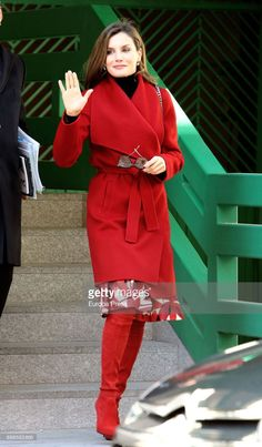 21 December 2017 - Queen Letizia attends a working meeting of AECC - coat by Hugo Boss, boots by Magrit, bag by Zara