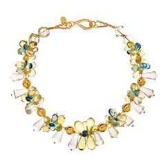 Lemon Quartz and London Blue Topaz Necklace in Gold | From a unique collection of vintage choker necklaces at http://www.1stdibs.com/jewelry/necklaces/choker-necklaces/