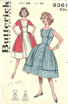 Butterick 9361 / Vintage 60s naaien patroon / kleden / Size 14 buste 34
