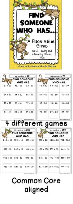$ - another fun way to review and practice adding an subtracting multiples of 10 and 100; very little prep