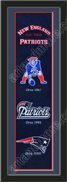 s framed New England Patriots heritage banner, double matted in team colors to 8 x 32 inches.  $119.99 @ ArtandMore.com