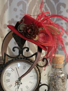 Shop for steampunk on Etsy, the place to express your creativity through the buying and selling of handmade and vintage goods. Tea Hats, Tea Party Hats, New Trainers, Vintage Tea, Fascinator, Costume Ideas, Tea Time, Steampunk, Table Settings