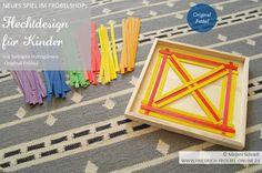 Muster zum Nachlegen für Kinder aus roten und gelben Streifen zum Weben/ Flechten. Gehört zum Flechtdesign Webspiel (Verschränken von Holzspänen) und ist Original Froebel Spielgabe (Spielgabe 15)