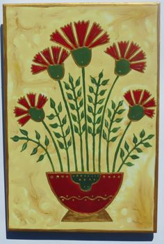 red carnations - hand painted tiles #carnations #floraltiles #handpaintedtiles #tileart #homedecor