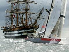 "Italian tall ship ""Amerigo Vespucci"" and ""Luna Rossa"" sailboat"
