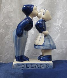 Vintage Hand Painted Dutch Boy and Girl Kissing by myabbiesattic, $29.99