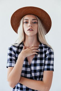 wide brim hat and plaid