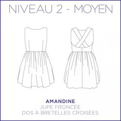 Patron de la robe dos nu Amandine par Coralie Bijasson, robe bretelles croisées, jupe courte plissée