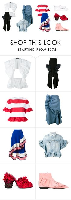 """Editorial: Ruffle Shuffle"" by farfetch ❤ liked on Polyvore featuring E L L E R Y, Maticevski, Goen.J, J.W. Anderson, Emilio Pucci, MSGM and Marco de Vincenzo"