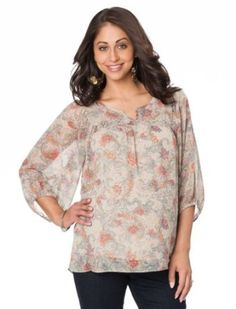 Motherhood Maternity: 3/4 Sleeve Keyhole Detail Maternity Blouse Motherhood Maternity. $29.98