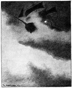 File:Uvaersnatt-utfor-skomvaer-fyr-en - ship in storm by lighthouse - 1892.jpg - Wikimedia Commons