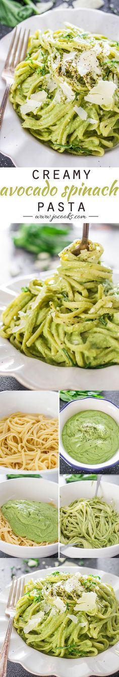 Creamy Avocado and Spinach Pasta - a creamy sauce made with avocados, spinach, basil and pecans. A super healthy and delicious pasta dish, eat without guilt. Guacamole, Pastas Recipes, Dinner Recipes, Recipies, Vegetarian Recipes, Cooking Recipes, Healthy Recipes, Avocado Dessert, Best Avocado Recipes