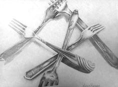"""OBSERVATIONAL DRAWING: """"Forks"""", Letitia Bernabe. Arrange ordinary objects into an interesting composition. Like the curled paper, this drawing of forks transcends the ordinary subject and becomes a strong composition when enlarged and arranged carefully."""