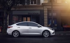 Download wallpapers Hyundai Accent, 2018, exterior, new silver Accent, side view, South Korean cars, Hyundai
