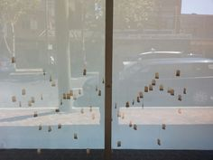 Conversations - used tea bags installation,  Slot a window gallery. Sydney