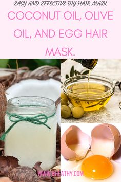 Homemade DIY hair mask for damaged hair.