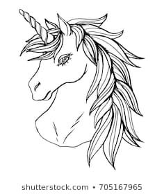Realistic detailed hand drawn illustration of an unicorn head with mane and horn. Graphic tattoo style monochrome art of imaginary animal. Design for t-shirt, clothes, card print. Horse Head Drawing, Unicorn Head, Stock Foto, Animal Design, Hand Drawn, Monochrome, Art Ideas, How To Draw Hands, Royalty Free Stock Photos