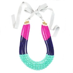 Swell Caroline colorblock necklace in Navy, Aqua & Pink