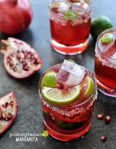 This cocktail recipe for Pomegranate Margaritas is wonderfully festive and perfect for toasting with friends! Whip up a few glasses of this easy drink for Thanksgiving or any of your holiday parties this season! Best Tequila Drinks, Yummy Drinks, Yummy Food, Delicious Recipes, Pomegranate Margarita, Strawberry Margarita, Pomegranate Cocktails, Margarita Recipes, Cocktail Recipes