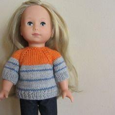 """Pull, gilet rayé orange, gris et bleu pour poupée """"just like me"""" de götz, 27 cm"""