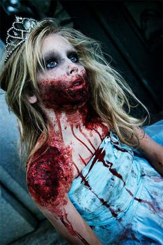 This is a relatively similar concept to the Alice in wonderland and Monsters inc. pin, using the innocence of a young girl, dressed up for some event, and twists it so the effect is even more haunting.