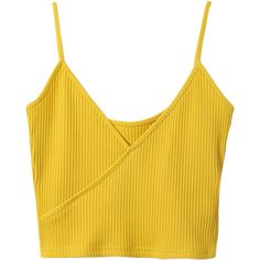 Ribbed Surplice Cropped Cami Tank Top Yellow (€11) ❤ liked on Polyvore featuring tops, crop top, shirts, blusas, ribbed crop top, camisole tank top, cami crop top and ribbed shirt