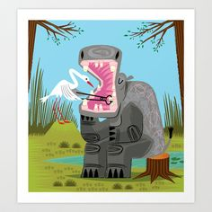 Hippopotamouth+Art+Print+by+Oliver+Lake+-+$15.00