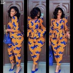 African blouse with trouser, ankara print, African clothing, African party dress, ankara print at Diyanu African Party Dresses, African Dresses For Women, African Print Dresses, African Print Fashion, African Attire, African Fashion Dresses, Fashion Prints, African Print Jumpsuit, Ankara Jumpsuit