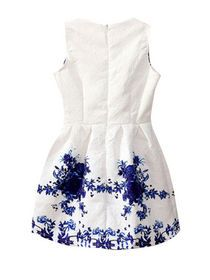 Exquisite O Neck Sleeveless Printing Bubble Dress img