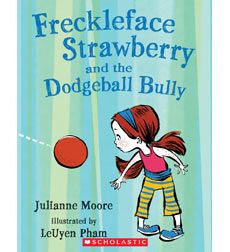 Freckleface Strawberry and the Dodgeball Bully by Julianne Moore. This book was chosen becuase it contains many triple and double consonant blends. According to scholastic.com, this book is part of a series for early elementary students; the book is about overcoming a bully.