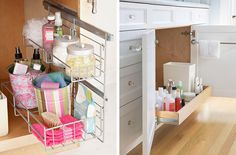 Pull out storage is such a convenient way to save space and keep organized in a tiny bathroom. Bathroom Storage Solutions, Small Bathroom Organization, Bathroom Ideas, Tiny Bathrooms, Tiny Spaces, Small Space, Diy Home Repair, Better Homes And Gardens, Home Repairs