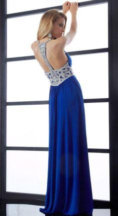 Jasz Long Prom Dress with Gemmed Shoulder Straps 4549