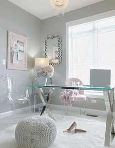 Pink and grey office Home Office Space, Home Office Design, Home Office Decor, Home Decor, Office Ideas, Feminine Office Decor, Office Rug, Office Inspo, Office Style