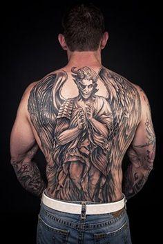 demon tattoo on back