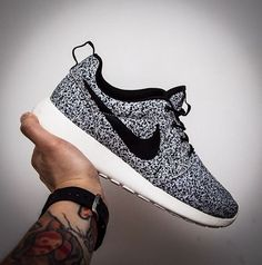 Nike Roshe Run Trainers Black Silver And White. I still don't love the look of Roshe, but this print makes it better.