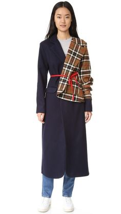 Jacquemus Plaid Mixed Media Coat