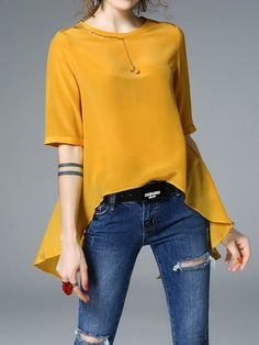 Shop Blouses - Yellow Silk High Low Half Sleeve Solid Blouse online. Discover unique designers fashion at StyleWe.com.