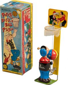 Linemar Popeye the Basketball Player. Vintage Bottles, Vintage Tins, Popeye The Sailor Man, Toys In The Attic, 1960s Toys, Vintage Cartoon, Tin Toys, Comic Book Characters, Sweet Memories