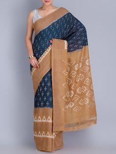Brown & Navy Cotton Ikat Handwoven Saree by Ghanshyam Sarode - Jaypore.com